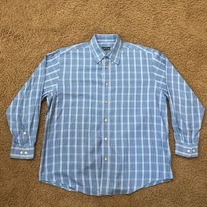 Light blue Orvis plaid shirt